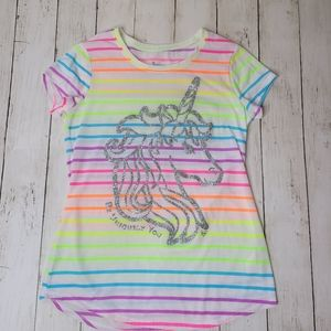 Justice GIRLS Neon Striped Unicorn Top